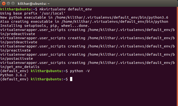 Create default virtual environment and test its Python version