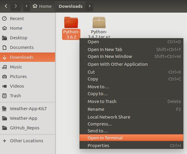 Opening terminal in Python's folder.